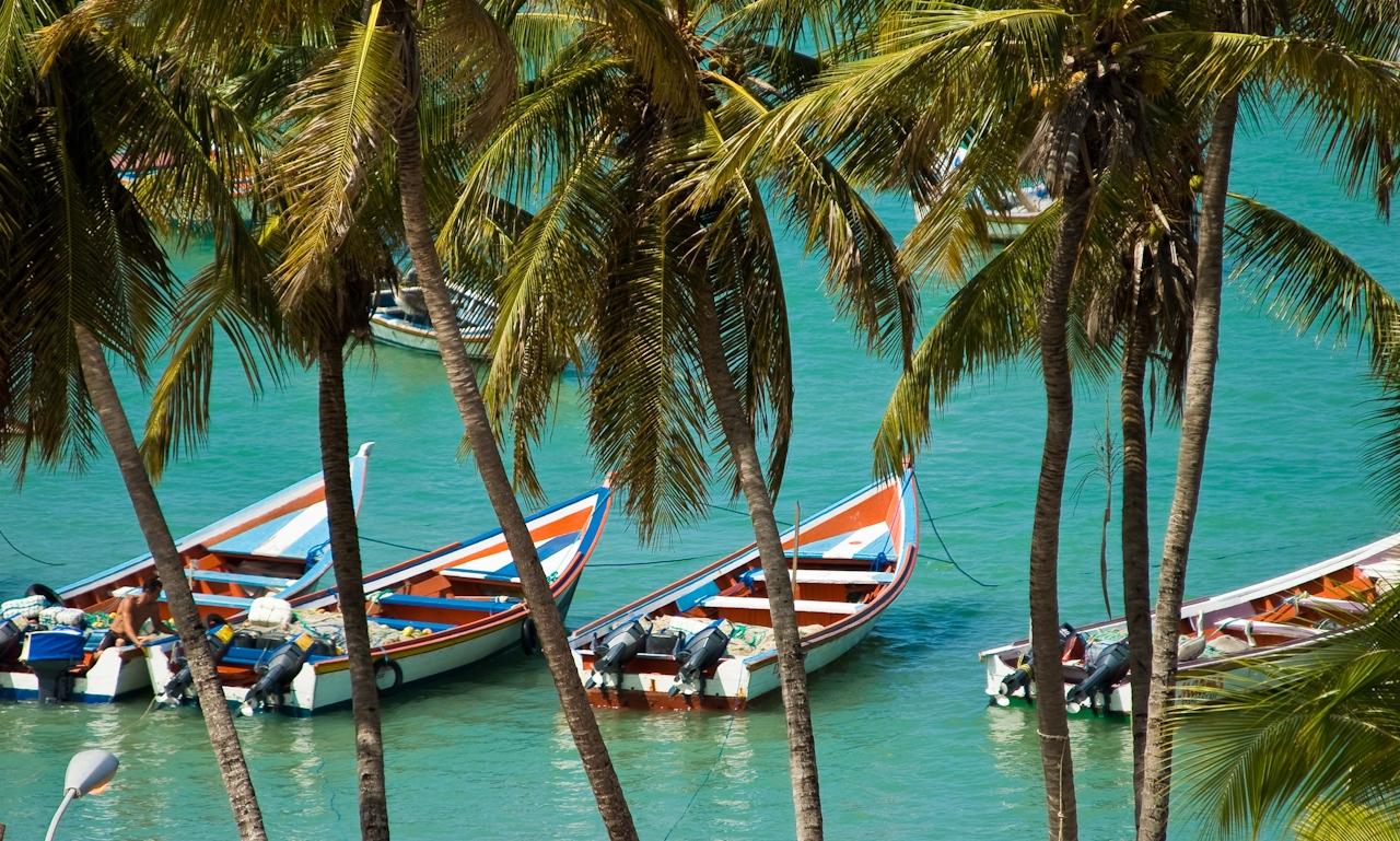 Остров Маргарита, Венецуела, рибарски лодки и лодки за разходки